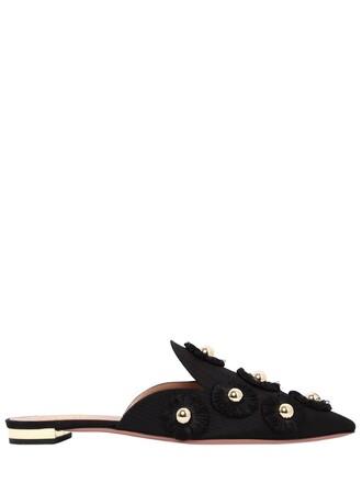 sunflower mules satin black shoes
