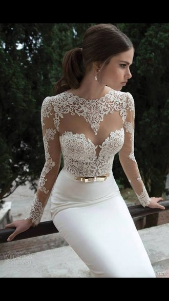 wedding wedding clothes wedding dress long sleeve wedding dress white lace white dress bow dress gold belt sweetheart dress bodycon dress dress white prom dress prom dress long prom dress white prom lace wedding dress long lace dress prom gown white lace dress