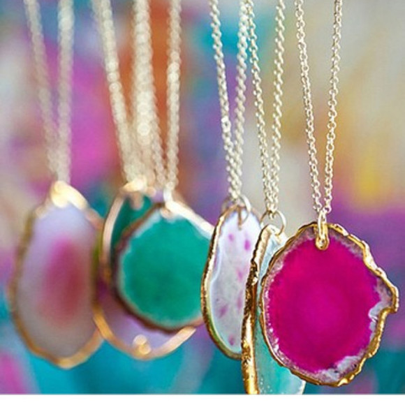rock jewels gold aqua white pretty cute adorable necklace jewel fancy pink jewelry blue skirt