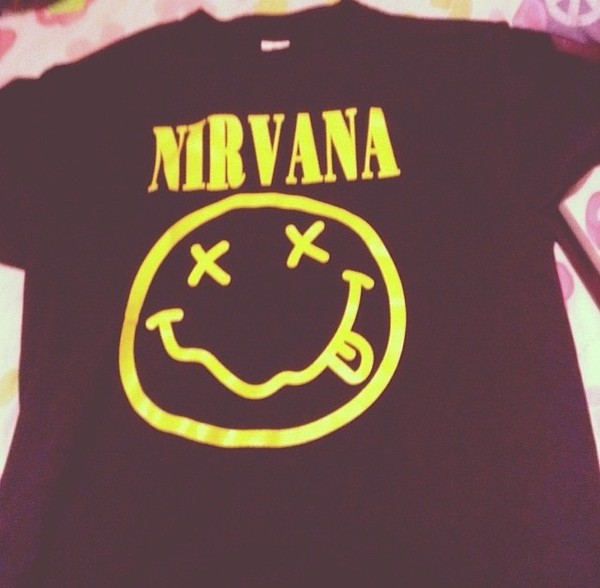 shirt nirvana smile blue yellow