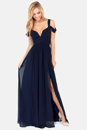 Elegant Navy Blue Dress - Maxi Dress - Cocktail Dress - Prom Dress - Bridesmaid Dress - $179.00