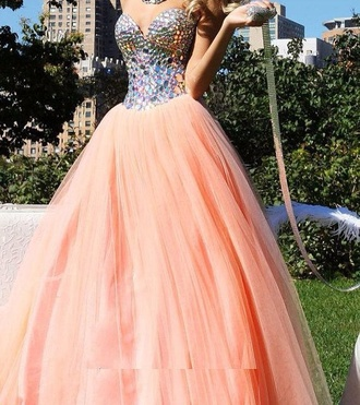 peach dress peach prom dress formal dress bling sparkly dress sparkle sweetheart dress