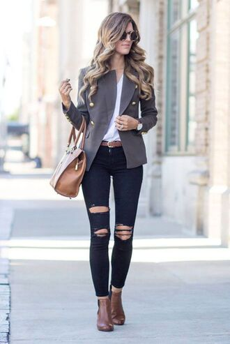 shoes grey button blazer brown boots blogger round sunglasses black ripped jeans