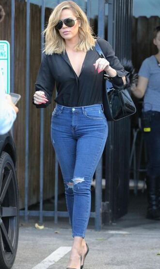 jeans blouse shirt fall outfits khloe kardashian