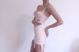 underwear body lingerie trnsparent pink pale pastel spikes bodycon intimte bustier bra lace garter