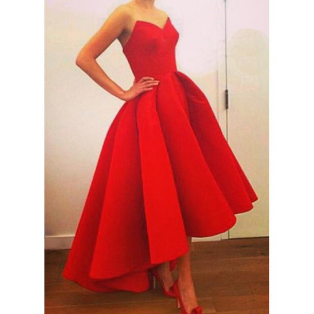 Asymmetrical Red Dress Sweetheart Neckline