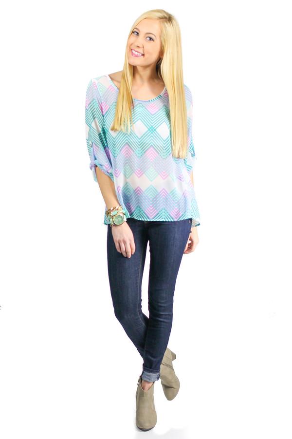 blouse top shirt chiffon blouse chiffon zig zag teal