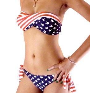 Amazon.com: sexy bikini twisted tube american flag us stars stripes padded swimwear swimsuit (m): health & personal care