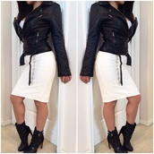 jacket,bodycon,black leather jacket,black,style,outfit,skirt,white dress,white,leather.,blouse,blogger,pretty little liars,dress,hot,hot topic,gothic boots,boots,shoes,heels