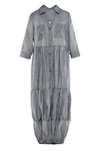 Blue and white stripes shirt dress [ncskf0059]