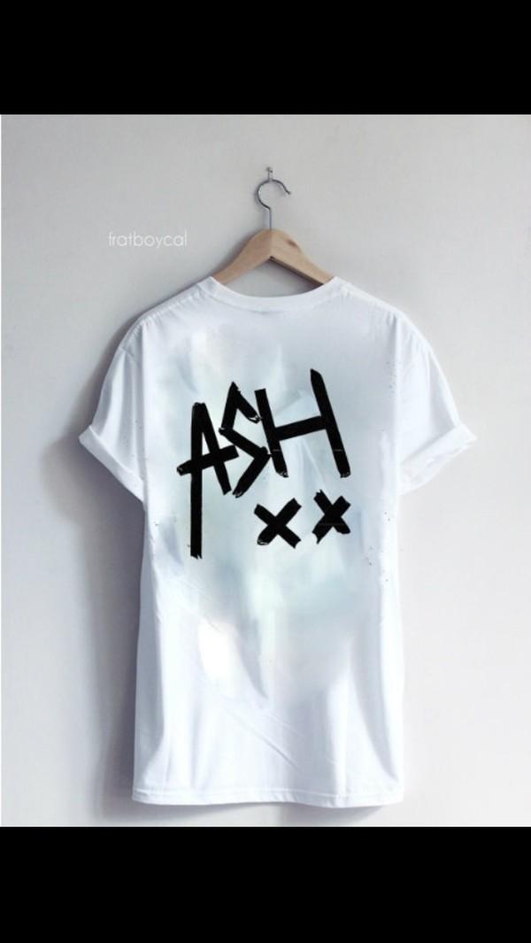 shirt white shirt ash 5 seconds of summer