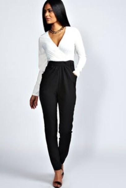 Pants White Jumpsuit Black Jumpsuit Jumpsuit Wheretoget