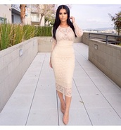 dress,party outfits,date outfit,sexy dress,sexy party dresses,nude high heels,long sleeves,long sleeve dress,lace dress,beige dress