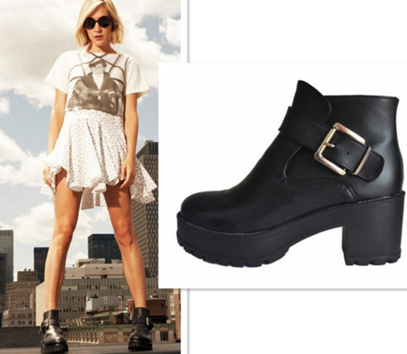 Punk rock buckle strap chunky heels platform womens ankle boots shoes free shipping by regisgered chinapost airmail