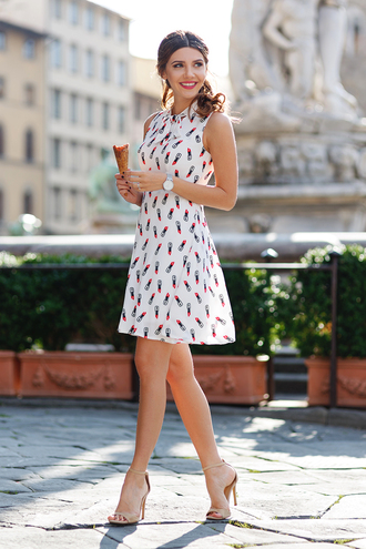 the mysterious girl blogger make-up shoes jewels mini dress white dress summer dress sandal heels nude heels streetstyle ice cream