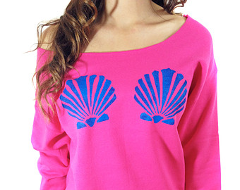 Mermaid top seashell bra off the shoulder sweatshirt the little mermaid inspired hipster mermaid summer women's clothing