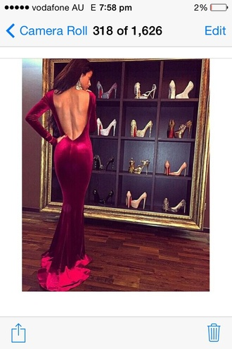 dress velvet prom dress burgundy dress burgundy women long gown long dress open back pink maxi dress