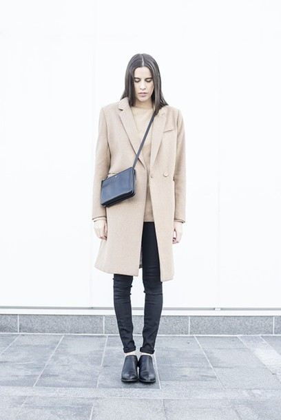 melissa araujo blogger coat sweater jeans shoes bag jewels