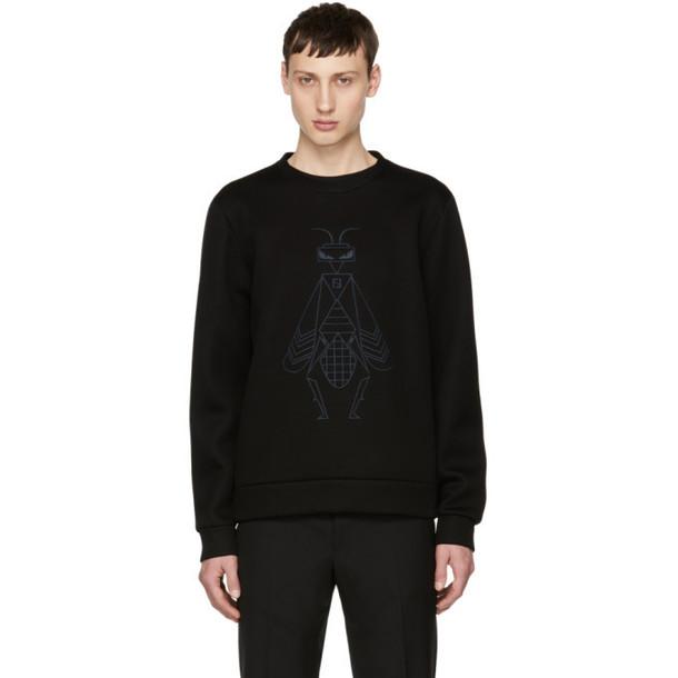 Fendi Black Embroidered 'Super Bugs' Sweatshirt