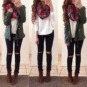 scarf,red,red scarf,loop,loopscarf,winter outfits,winter scarf,warm,instagram,jacket,green,green jacket