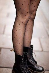 pants,shoes,polka dot tights,tights,mesh,polka dots,grey,socks,black,elegant,love,cute,boho,grunge,black tights,elegant dress,leggings,DrMartens,hipster