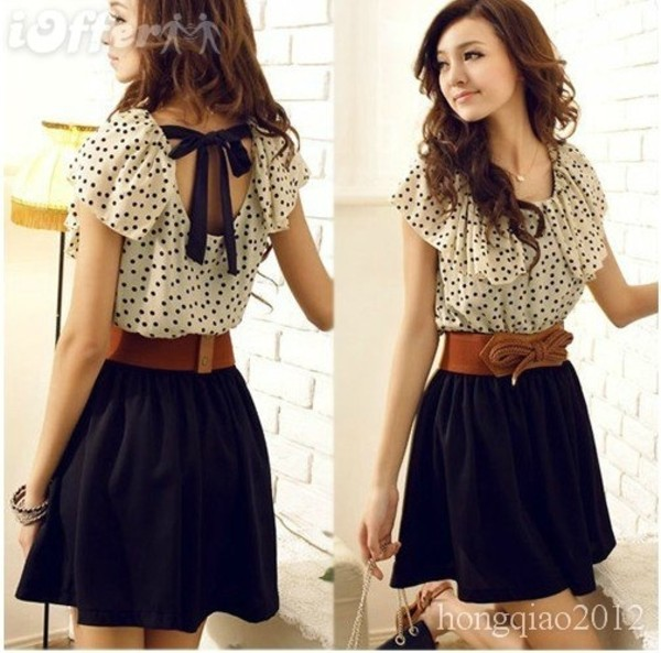 dress blouse skirt belt shirt t-shirt clothes casual black white backless lace pajamas polka dots black dress bow short dress black and white ruffle dress