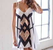dress,white,beautiful,sequin dress,white dress,black dress,chic,gold,sequins,colorblock,clothes,white black and gold,sleeveless dress,v-neck double strap,summer dress,black and gold  tank top,black white gold,sheer,sparkle,aztec,forever 21,jewelry,rose gold,black,spagetti staps dresses,sparkly dress,short party dresses,white and gol,strappy dress,white and gold dress,shift dress,black and white dress,blouse,glittery dress,allydress.com,pinterest,navy,black white sequin dress,black and gold,graduation dress,graduation,gold sequins,jeans,mini dress,cute dress