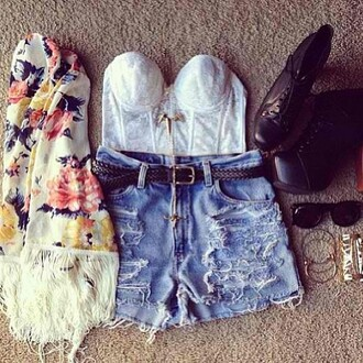 coat roses flowers shorts blue white bustier black sunglasses jewels gold shirt