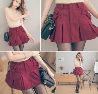 skirt korean bow red red skirt bow pockets