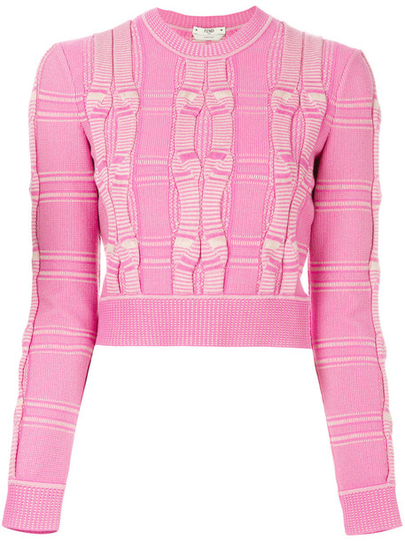 Fendi sweater cropped sweater embroidered cropped women purple pink