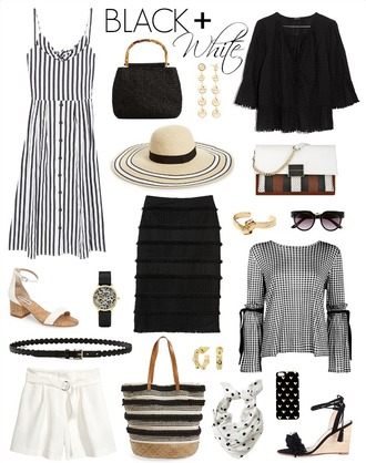pennypincherfashion blogger dress bag jewels top hat sunglasses shoes skirt blouse belt shorts scarf sandals high heel sandals black and white black and white dress spring outfits handbag wedge sandals white shorts sun hat