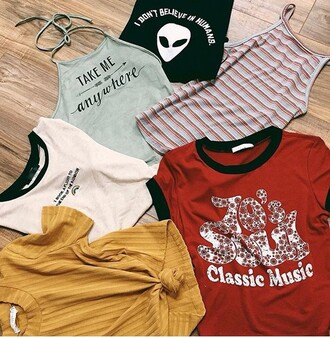 shirt halter top crop tops brandy melville clothes tumblr vintage retro stripes summer spring fall outfits ootd fashion toast cute alien quote on it outfit