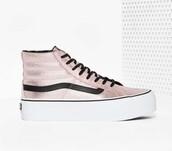 shoes,metallic pink,high top sneakers,vans,pink sneakers,platform sneakers,metallic sneakers