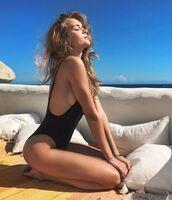 swimwear,one piece swimsuit,black swimwear,josephine skriver,model off-duty,instagram