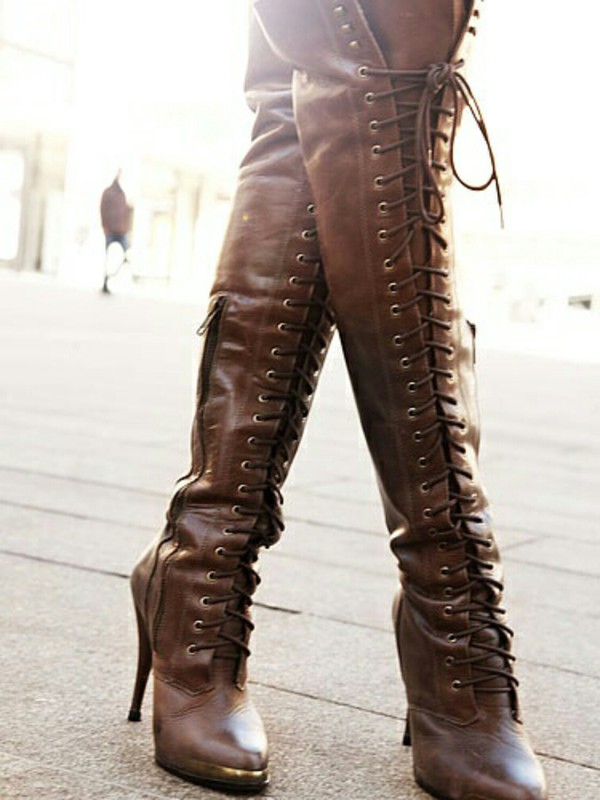 shoes knee high boots lace up boots wheretoget