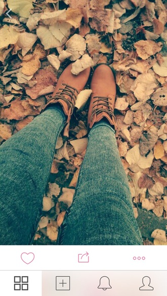 boots fall shoes leaves
