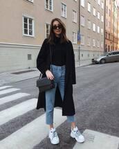 bag,crossbody bag,leather bag,white sneakers,black coat,black t-shirt,sunglasses,streetstyle