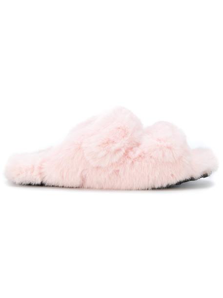 Suecomma Bonnie fur women sandals purple pink shoes