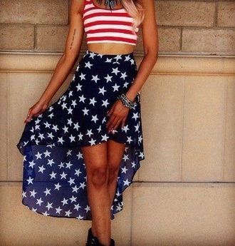 top shirt red and white america july 4th patriotic crop tops stripes tank top flag american flag shorts chiffon skirt skirt cute high low high low skirt stars navy patriotic clothing cute skirt holidays