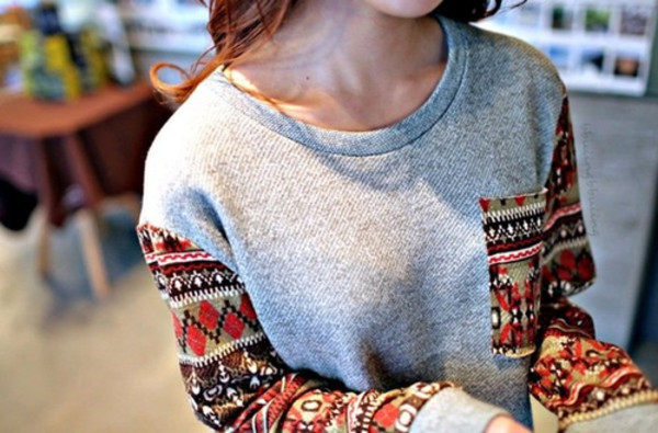 sweater tribal pattern hipster sweatshirt