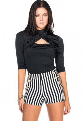 Women's Fashion | Black and Ivory Striped High Waist Nautical Shorts | Style Siren Clothes