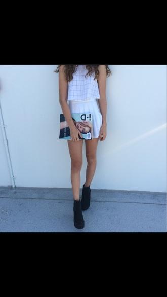 skirt white skirt white tshirt white top pale cool bag clutch clutch bag cool bags