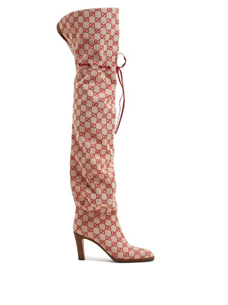 Gucci - Gg Canvas Over The Knee Boots - Womens - Red Multi