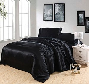 Amazon.com - Pure Enjoyment Black Luxury Bedding Silk Bedding, Queen Size -