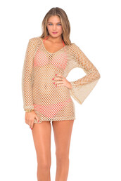 swimwear,2016,gold,luli fama,cover up,mesh top,bikiniluxe