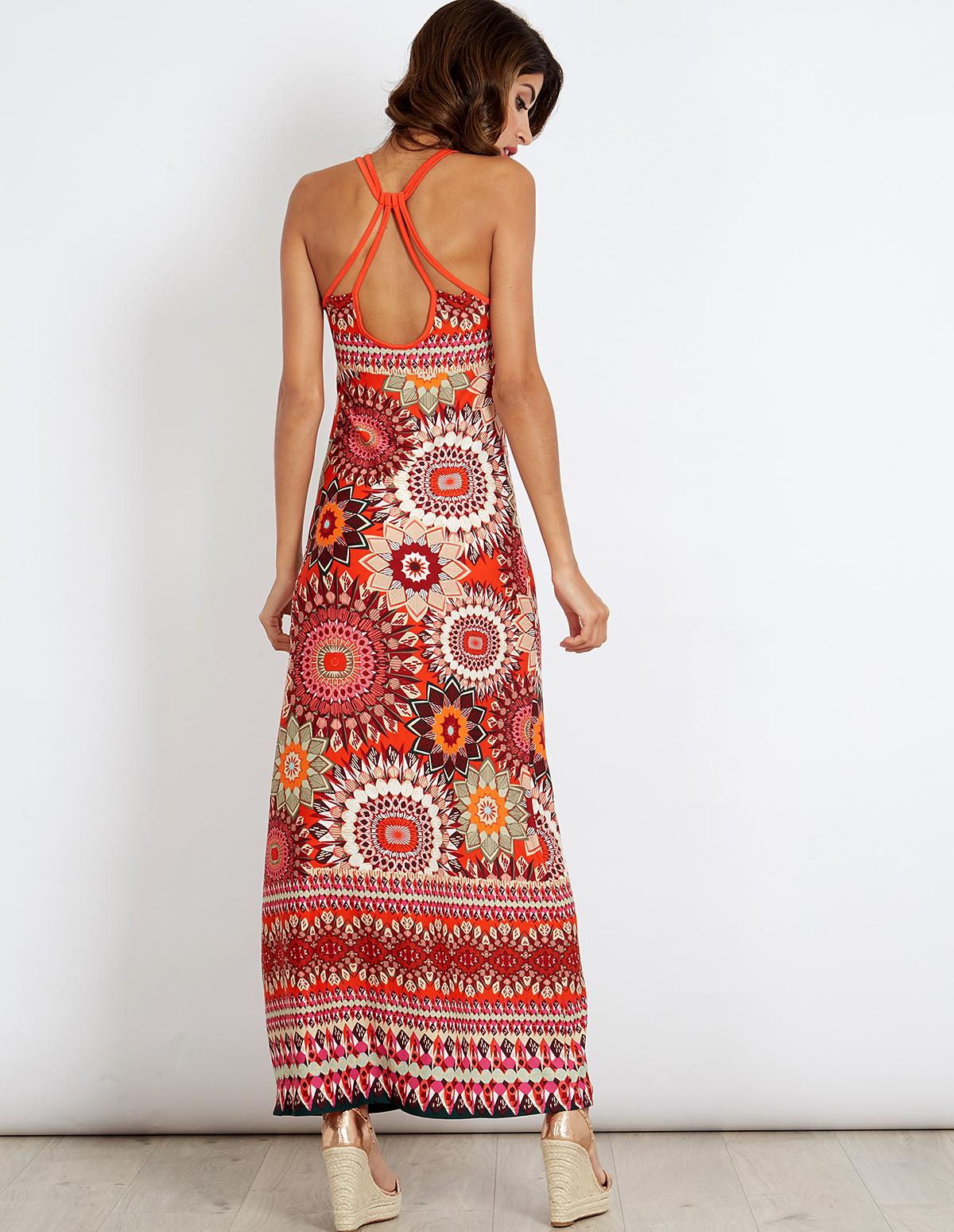 ZENAIDA - Geometric Floral Maxi Dress - Blue Vanilla