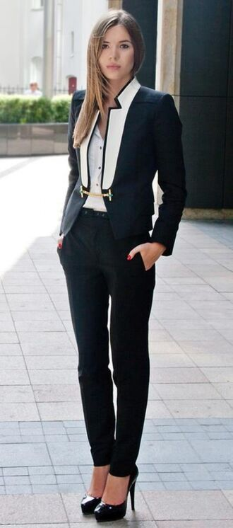 pants high waisted pants blazer coat costume suit jacket gold chain detail white borders tux female white black and white office outfits business professional business clothes androgynous style androgenous want it!!! business casual dress black pantsuit jumpsuit