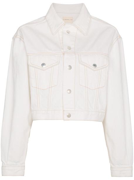 jacket denim jacket denim cropped women white cotton