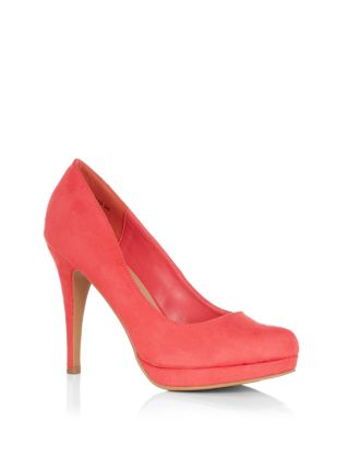 Coral Suedette Court Shoes