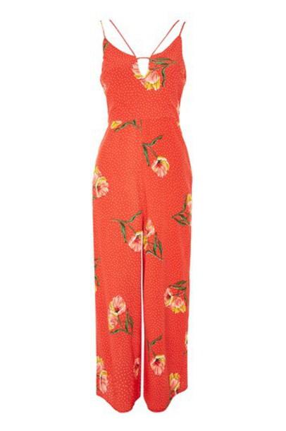 Topshop jumpsuit floral print red